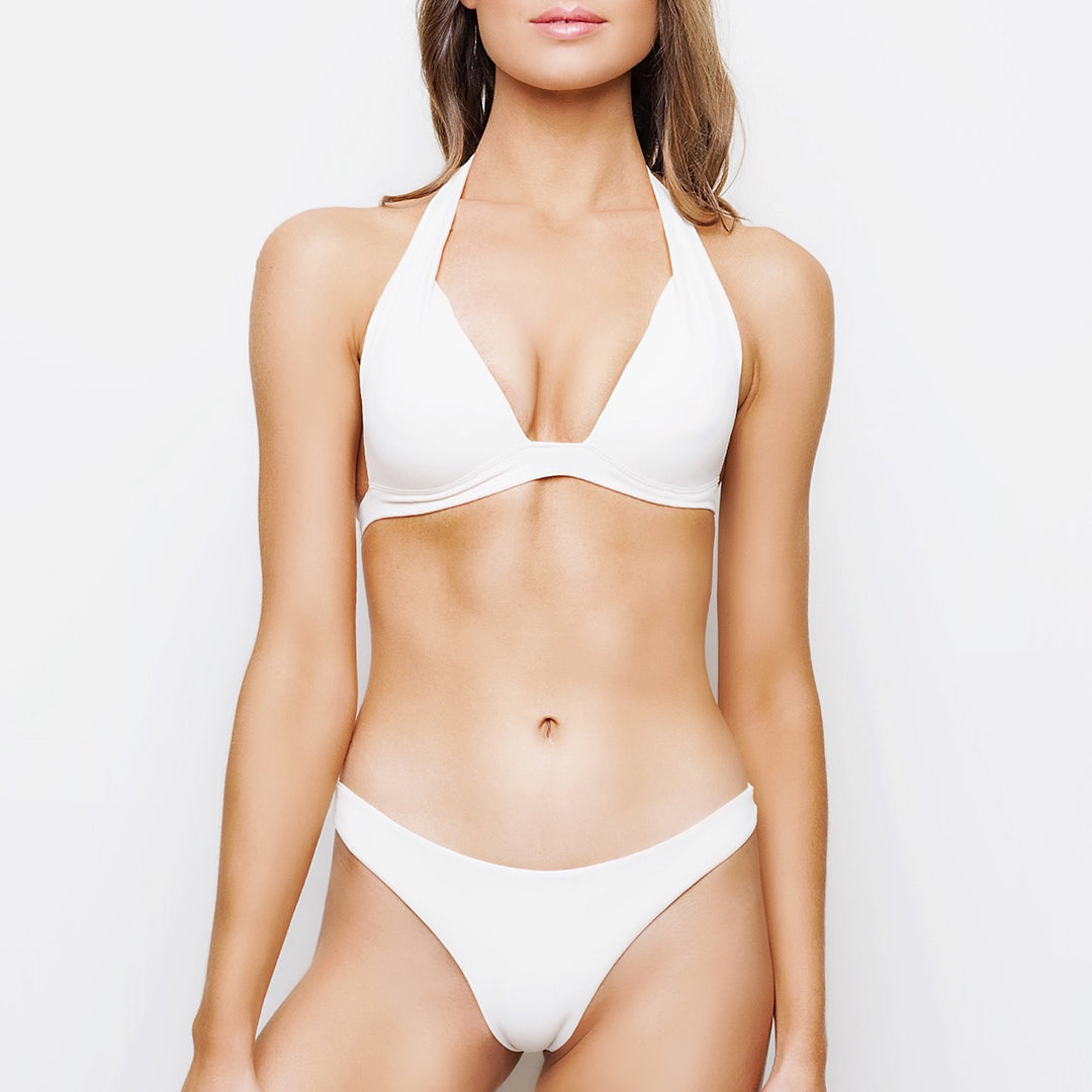 Cream gathered ruched brazilian cut bikini bottoms