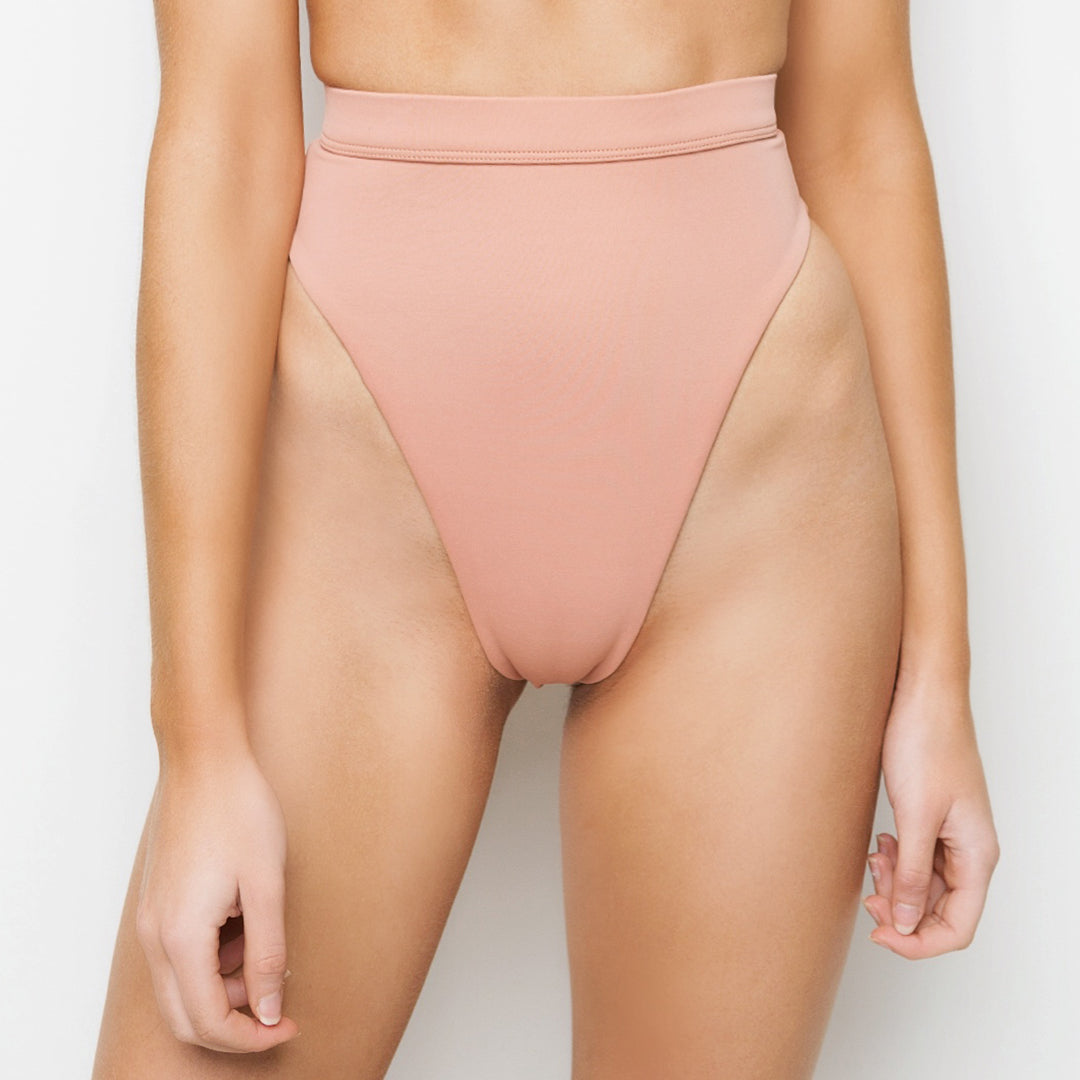 Honey coloured high waisted brazilian cut bikini bottoms