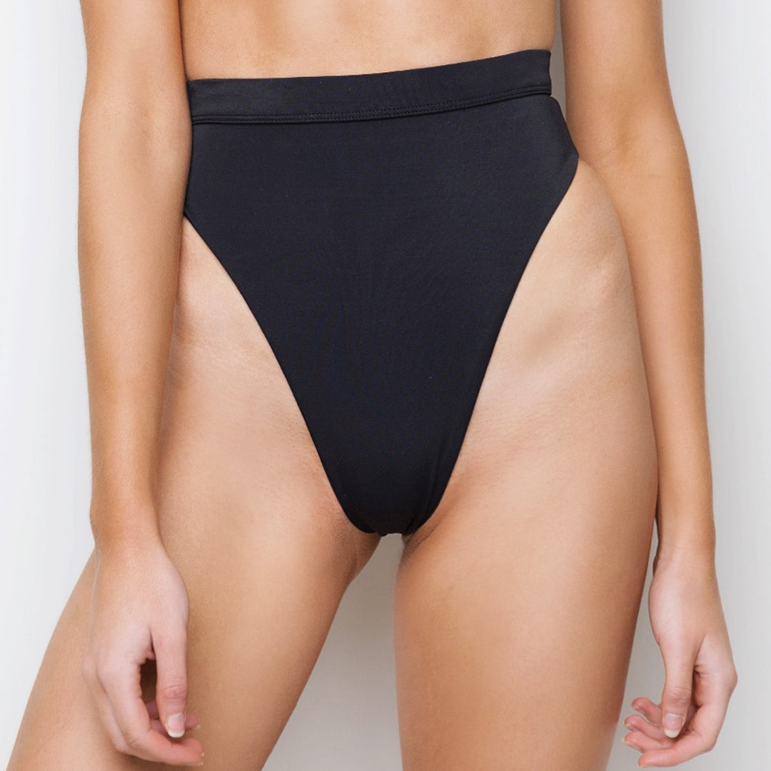 Black high waisted brazilian cut bikini bottoms