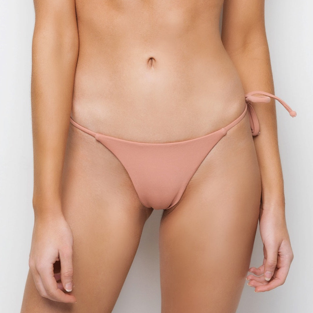 peach coloured brazilian bikini bottoms with ties