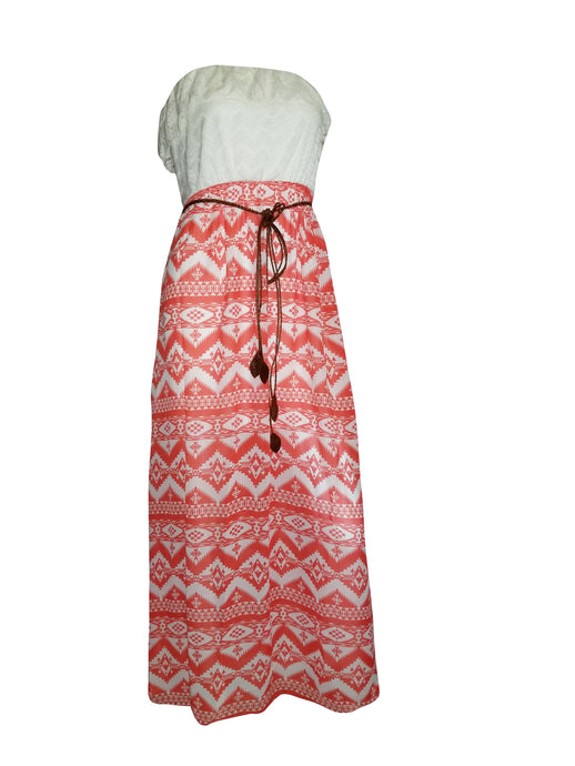 Skylar Tube Lace and Aztec Print Maxi Dress