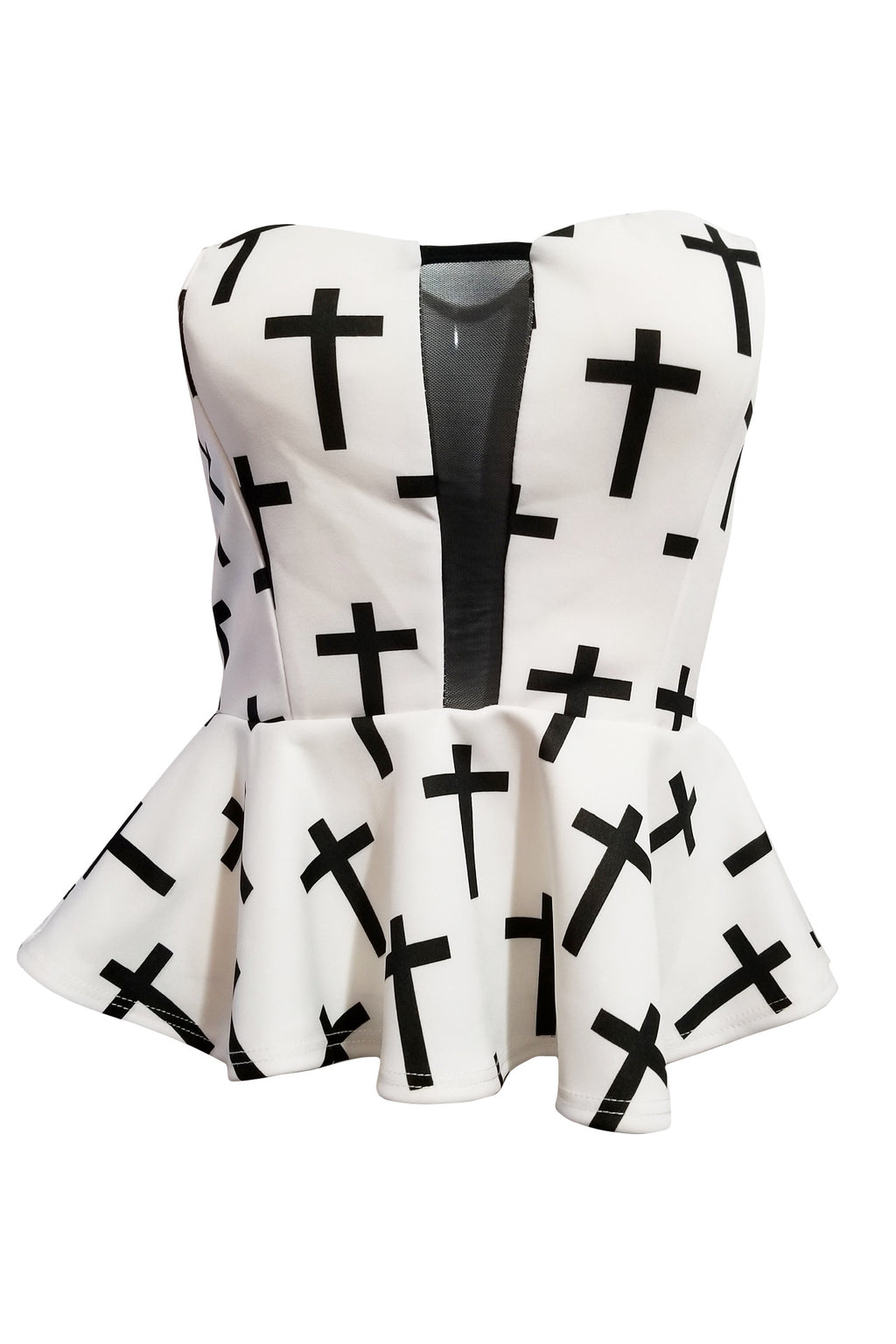 Zoe Peplum and Tube Top with Cross Print