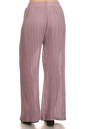 Christina Pleated Wide Leg Palazzo Pants (Lilac)