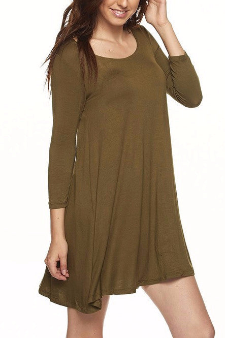 Maxene Baby Doll Dress 3/4 Sleeve (Olive)