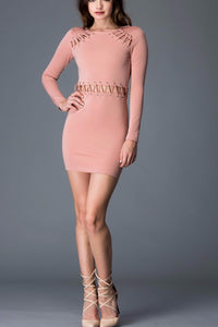 Princess Kate Body-con Dress with Eyelet Tie Detail (Mauve)