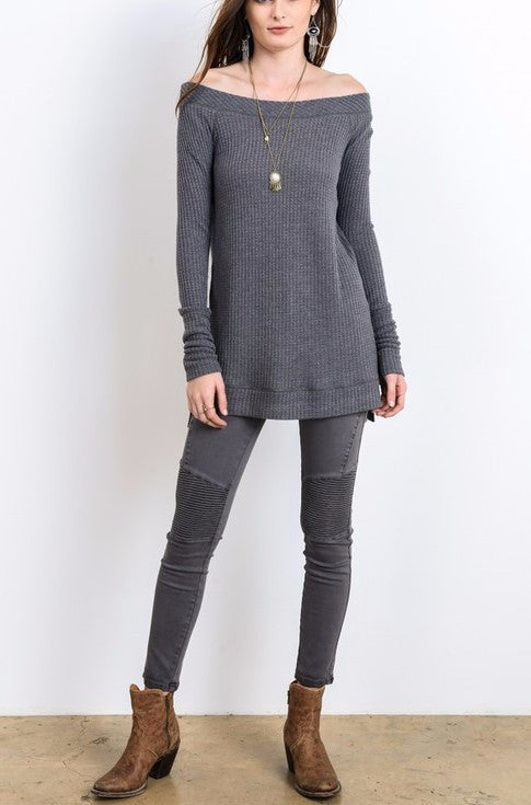 Leigh-Anne Long Sleeve w/ Side Slit (Charcoal)