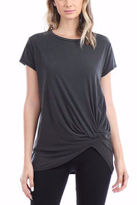Geri Short Sleeve Cupro Knot Top (Black)