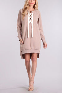 Jasmine Long Sleeve Pullover Dress with Lace Up Detail (Mink)