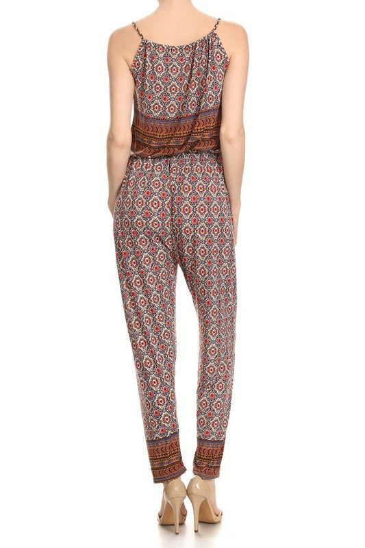 Tina Jumpsuit with Arabesque Print with Braided String Strap