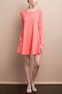 Nadine Flare A-Line with Keyhole Back Detail Dress (Hot Coral)