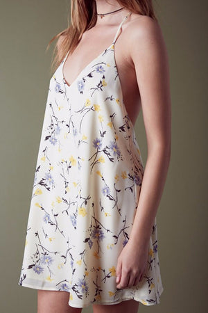 Megan Slip Dress with Floral Print (Ivory)