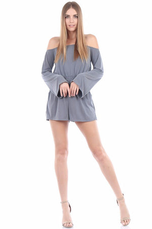 Isabella Long Sleeve Cupro Romper (Grey)