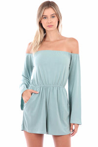 Isabella Long Sleeve Cupro Romper (Sage)