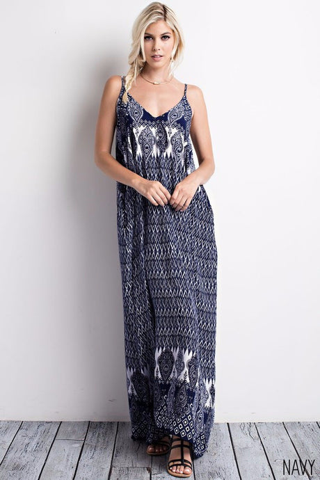 Vanessa Boho Printed Deep V-neck with Pockets