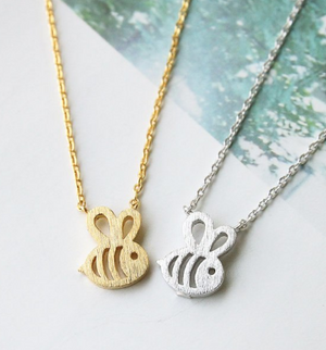 Tiny Bumble Honey Bee Pendant Necklace