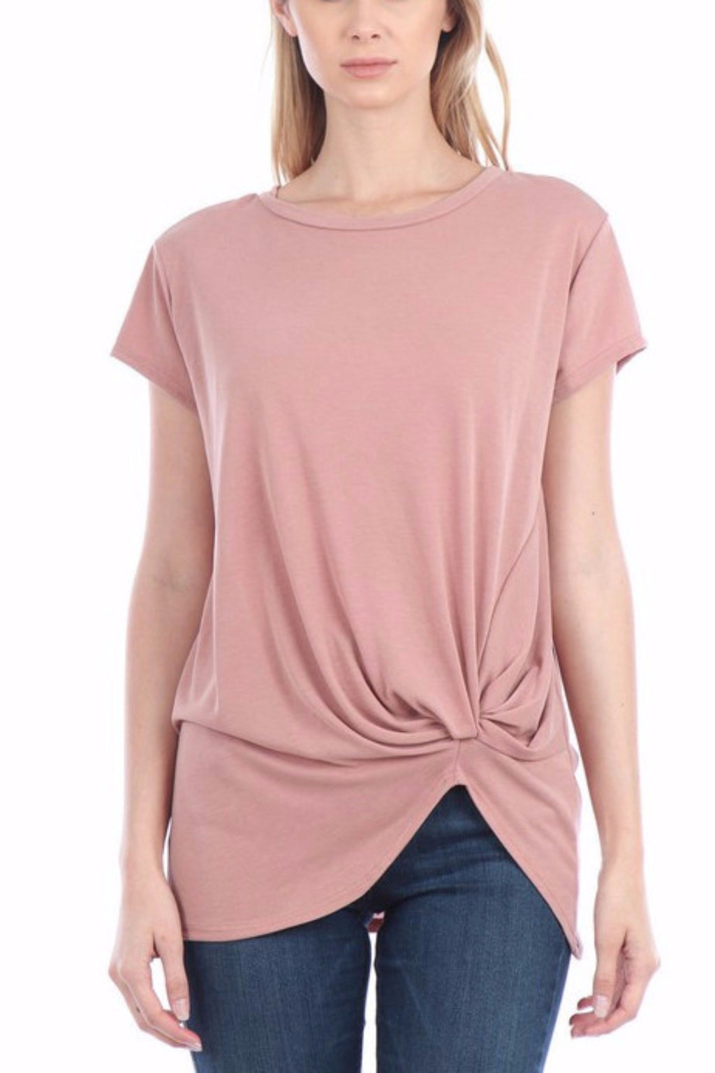 Geri Short Sleeve Cupro Knot Top (Dark Pink)