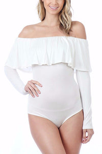 Emma Ruffled Off The Shoulder Bodysuit (Ivory)