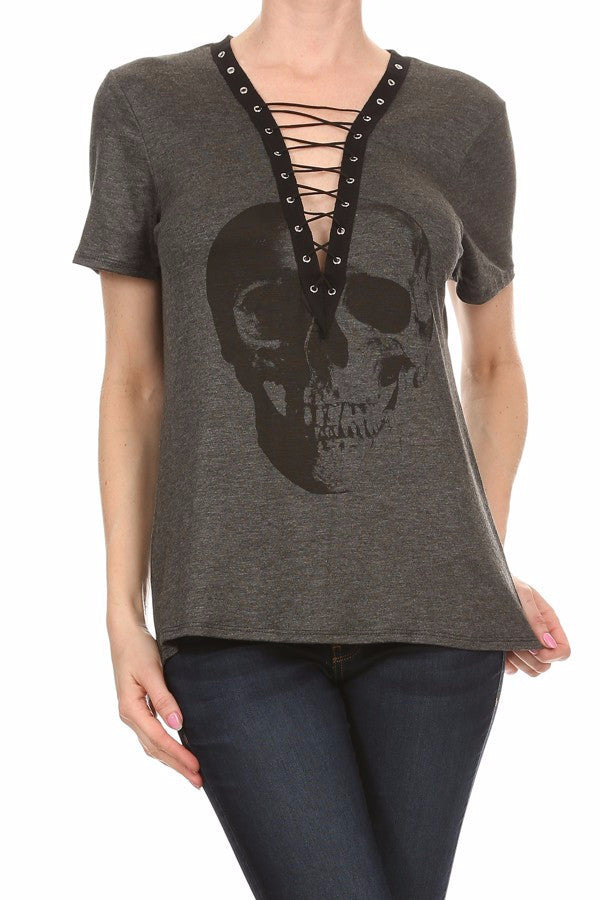 Gwen Lace up Skull Print Top (Charcoal)