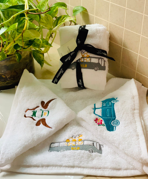 embroidered Hand or face towels transport icon