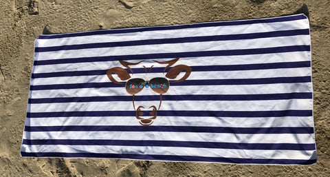 Navy Blue Stripes Son of a Beach Sand Free Beach Towel