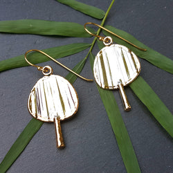 Spoil Me Jewelry - Les Petites Chinoiseries - 24K Gold Plated Chinese Fan Earrings