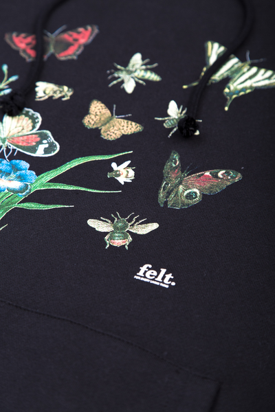 Butterflies and Bees Hoodie - Black