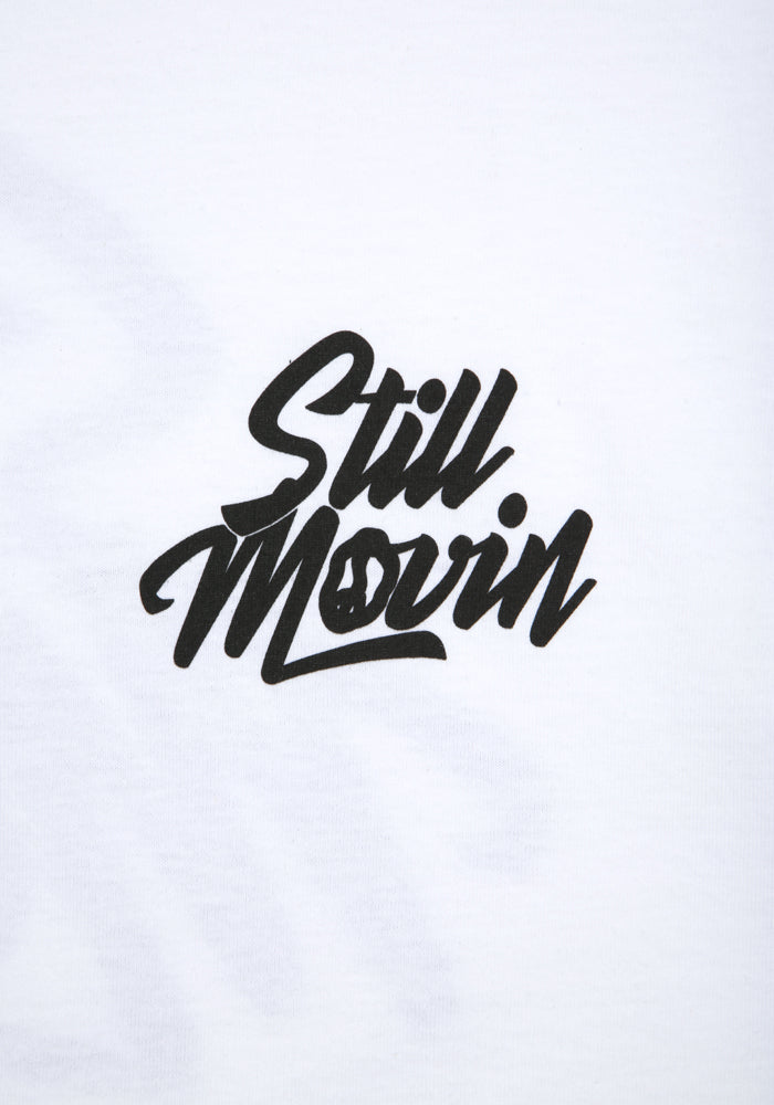 Still Movin Stacked Logo Tee - White