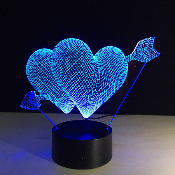 3D立体LED Night Light - 七彩渐变夜灯Love Series