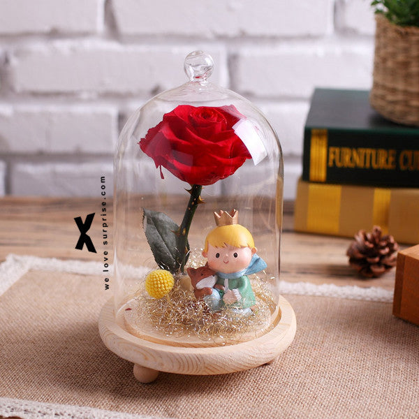 永生花玻璃罩【小王子玫瑰花】Little Prince Eternal Flower Wishing Bottle