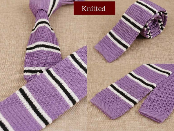Lavender Mens Skinny Knitted Tie Smart Casual