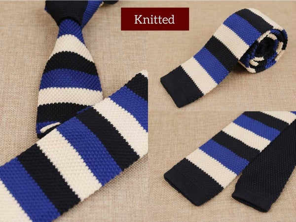 Blue Mens Skinny Knitted Tie Smart Casual