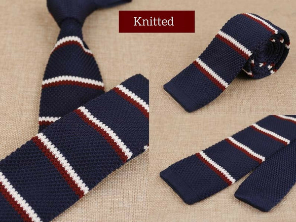 Navy Mens Skinny Knitted Tie Smart Casual