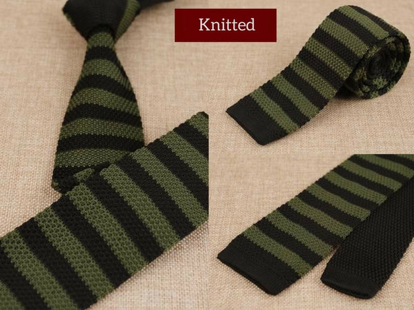Green and Brown Mens Skinny Knitted Tie Smart Casual