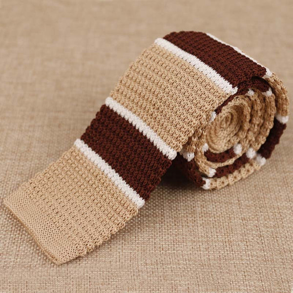 Brown, Beige and White Skinny Knitted Tie - Mens Fashion Co