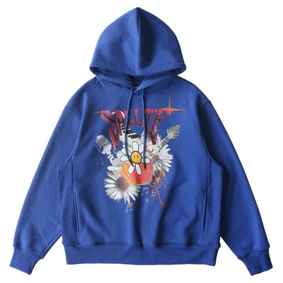 (PRE-ORDER)SALUTE 2020aw flower anarchy hoodies (Blue)