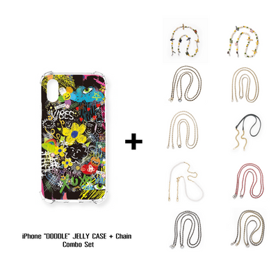 "iPhone ""DODDLE"" JELLY CASE + Chain Combo Set"