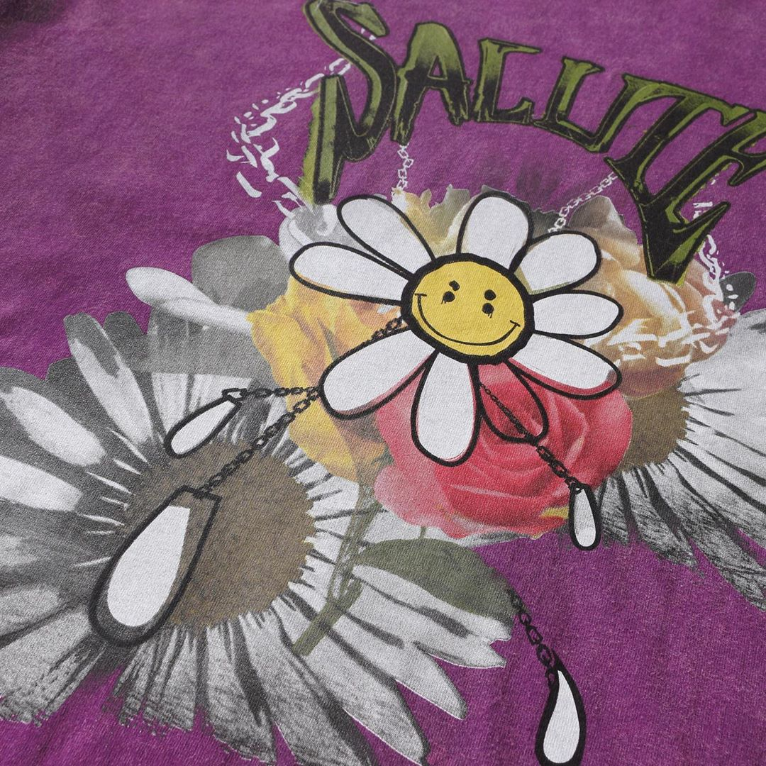 WASHED FLOWER VINTAGE T-SHIRT : PURPLE (Exclusive)