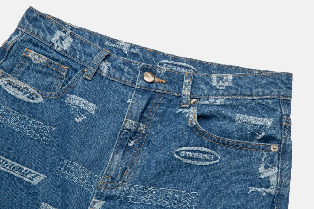 SLOGAN JACQUARD DENIM