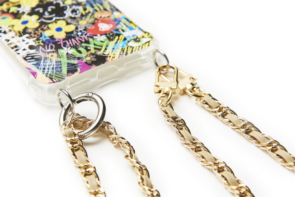 """GOLD BEIGE"" DOUBLE CROSS CHAIN BAG CASE"