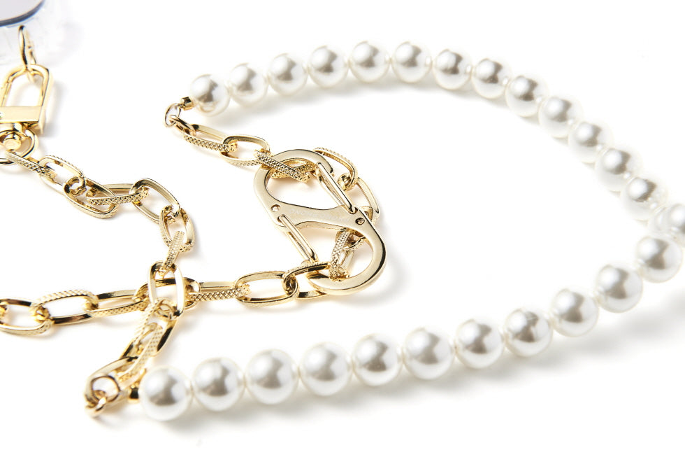 """GOLD PEARL MIXED"" CROSS CHAIN"