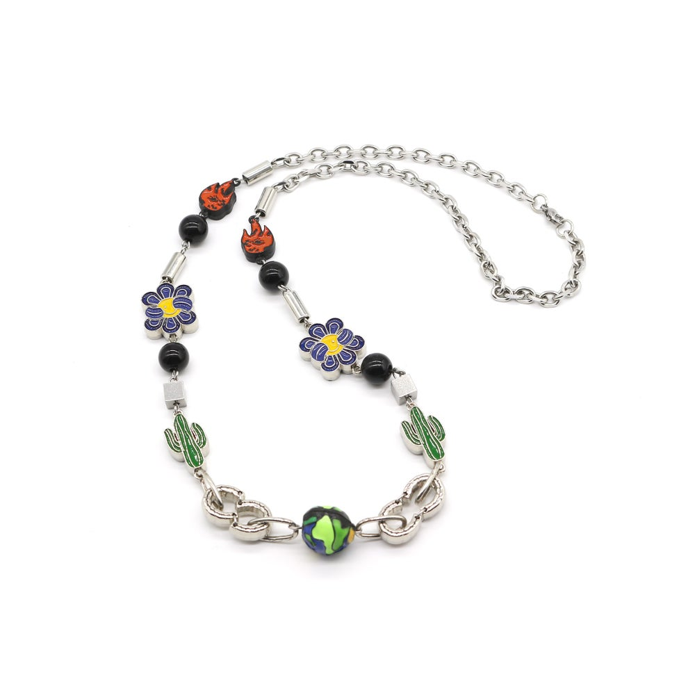 Salute Cactus flower flame necklace