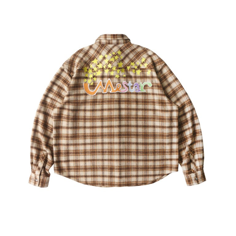 Star embroidered plaid shirt