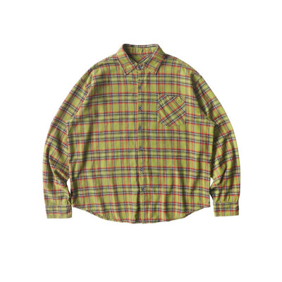 Skull embroidered plaid shirt