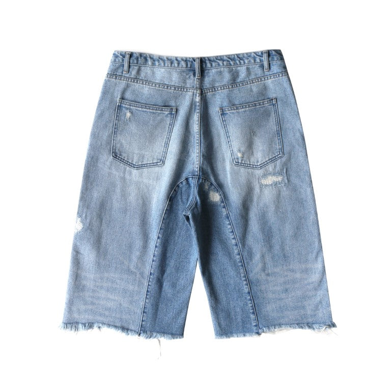 Skeleton Washed denim shorts (blue)