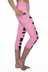 Pink and Black Weave - Pocket Capri