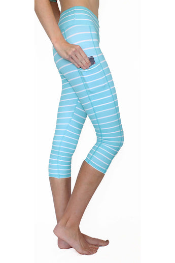 Aqua Stripe - Pocket Capri