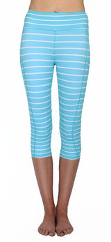 Aqua Stripe - Pocket Capri - NEW