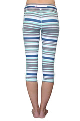 Mint, Navy, and Gray Stripe - Pocket Capri