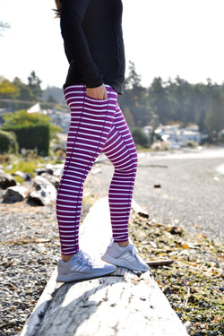 Purple and White Stripe - Pocket Pant - ON SALE