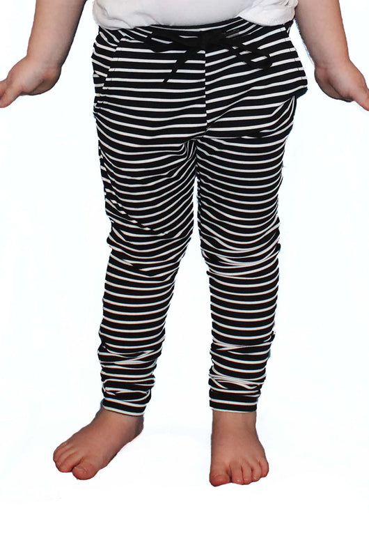 Black and White Stripe Joggers - Kids